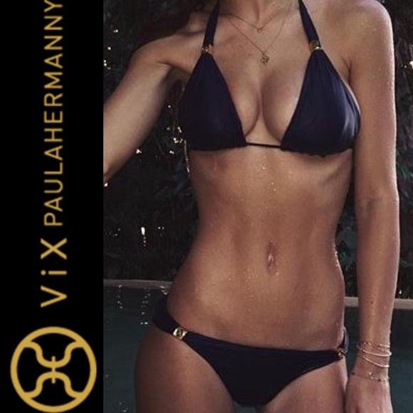 Women/'s Vix Bia Solid Full Bikini Bottom Black Size XS